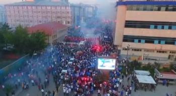 Erzurumsporlu taraftarların şampiyonluk kutlamaları havadan görüntülendi
